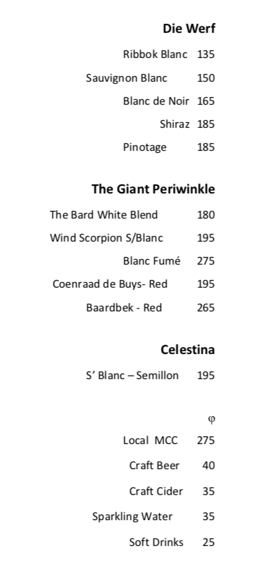 Wine list for Lokal Bbos February 2019